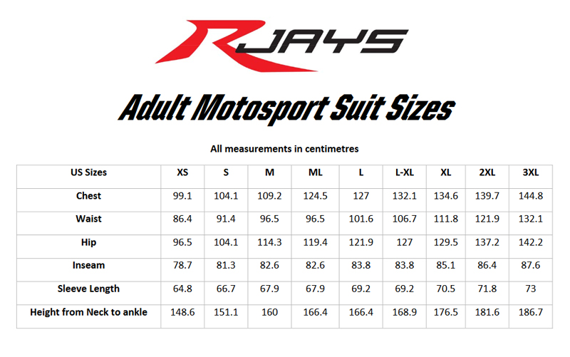 Rjays adult suit size